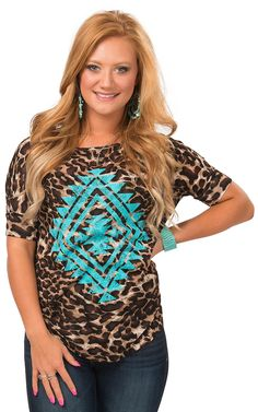 Crazy Train Women's Leopard Print with Turquoise Aztec Print Short Sleeve Top