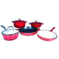 Le Chef 8 Piece Enamel Cast Iron Red Cookware Set ** You can find more details by visiting the image link.