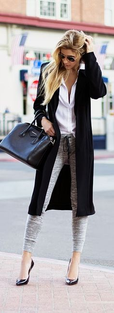 Greyscale this Fall. White Shirt With Black Long Coat And Grey Leggings #Streetchic #fashion #style