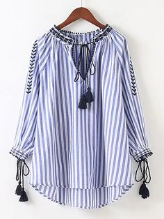 women V neck floral embroidery tassel striped shirts bow tie long sleeve pleated blouse retro casual tops blusas Bow Tie Shirt, Tie Shirts, Look Fashion, Fashion Outfits, Mode Hijab, Cotton Blouses, Casual Tops, Blouses For Women, Blouse Designs