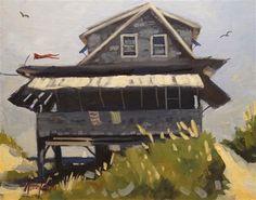 """Beach Cottage 2"" - Original Fine Art for Sale - © Kevin Larson"