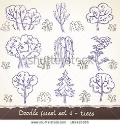 Doodle forest set 1 - trees by caramelina, via ShutterStock