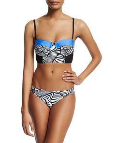 -69YP Splendid  Two-Tone Corset Swim Top Printed Reversible Swim Bottoms