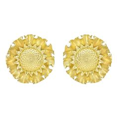 Large Gold Sunflower Earclips | From a unique collection of vintage clip-on earrings at http://www.1stdibs.com/jewelry/earrings/clip-on-earrings/