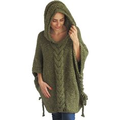20 Winter Tweed Green Plus Size Cable Knit Poncho With Hoodie by Afra ($92) ❤ liked on Polyvore featuring outerwear, black, women's clothing, cable knit poncho, plus size poncho, cable poncho, hooded poncho and green poncho