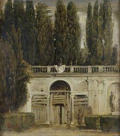 Vista del jardín de la Villa Medici en Roma . Velázquez, Diego Rodríguez de Silva. 1630, Óleo sobre lienzo. Medidas: 48,5 cm x 43 cm