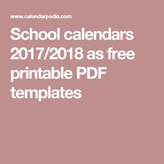 School calendars 2017/2018 as free printable PDF templates