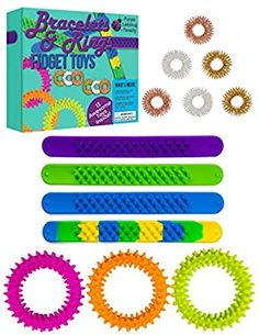 Amazon.com: Purple Ladybug Fidget Bracelets & Rings for Stress & Anxiety Relief! BPA & Phthalate Free Sensory Toys for Kids: 4 Slap Bracelets, 3 Spiky Bracelets & 6 Fidget Rings! Fun Fidgets and Cool Travel Toys!: Toys & Games