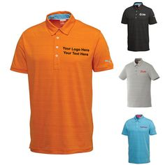 "Custom Imprinted Men's Golf Barcode Stripe Short Sleeve Polo Shirts: Available Colors: Black, Blue Atoll, Limestone, Vibrant Orange Product Size: S, M, L, XL, 2XL, 3XL. Imprint Area: Centered on Left Chest 3.00"" H x 3.00"" W. Carton Weight: 22.4 lbs. Packaging: 36. Material: 91% Polyester 9% Spandex Jersey. #customgolfshirt #poloshirt #BarcodeStripe #promotionalproduct"
