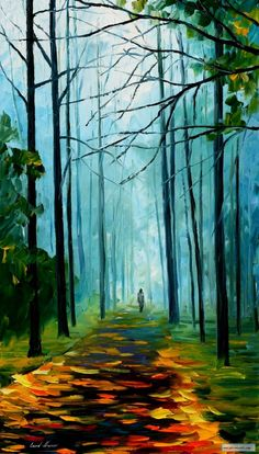 SUMMER FOREST — PALETTE KNIFE Oil Painting On Canvas By Leonid Afremov