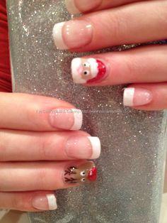 White polish tips with Santa and rudolf freehand nail art