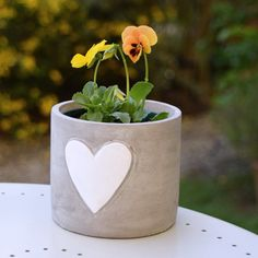 Whitewashed Plant Pot with Heart