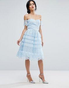 Chi Chi London   Off Shoulder Light BLUE Midi Dress In Paneled Lace, Knee Hem