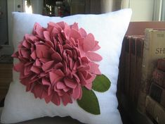 Super cool and textural pillow done in white linen and a dark pink hydrangea bloom! Measures approx inches and comes stuffed with clump free cluster stuffing. Looking for a different color bloom? Felt Cushion, Felt Pillow, Diy Cushion, Sewing Pillows, Diy Pillows, Cushions, Throw Pillows, Handmade Pillows, Decorative Pillows