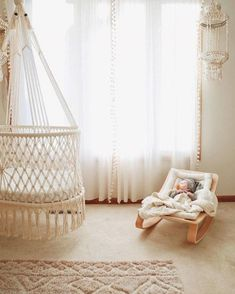 Hanging Crib in Macrame in Cream (hand-woven wicker base) hanging Bassinet – handwoven base detail, wood baby rocker, anthropologie sheer curtains, neutral nursery for baby – studio picture Baby Boy Nursery Room Ideas, Baby Bedroom, Baby Room Decor, Kids Bedroom, Nursery Decor, Whimsical Nursery, Bohemian Nursery, Nursery Crib, Boy Room