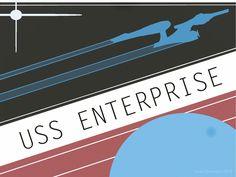 Vector art USS Enterprise from Star Trek 2009. Fake recruitment poster. Vintage style.