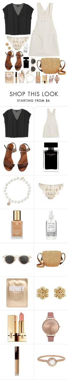 """Ros"" by sophiehackett ❤ liked on Polyvore featuring Monki, AG Adriano Goldschmied, Emporio Armani, Narciso Rodriguez, Sydney Evan, Estée Lauder, Herbivore, Issey Miyake, Khokho and Lapcos"