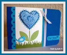 Blue Birdie and Heart For You Card by FubsyRuth - Cards and Paper Crafts at Splitcoaststampers