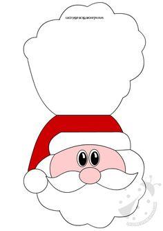 Biglietto con il viso di Babbo Natale indicato per fare gli auguri di Buon Natale ai vostri cari. BIGLIETTO DI NATALE Materiale: forbici matite colorate o