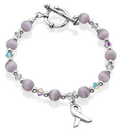 Breast Cancer Awareness Bracelet with fiber optic cat's eye beads and a breast cancer ribbon. Available at Shanrene. Alzheimers Awareness, Breast Cancer Awareness, Walk To End Alzheimer's, Alzheimer's Walk, Ribbon Bracelets, Purple Ribbon, Pink Gifts, Bracelet Making, Fiber Optic