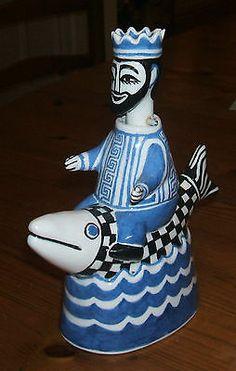 "RARE Bernard MOSS MEVAGISSEY ""NODDING"" KING RIDING A LARGE FISH CORNWALL | eBay"