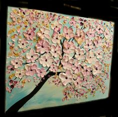 """Abstract oil on canvas painting """"Summer Blossoms"""" by Nicolette Vaughan Horner"""