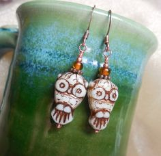 White Owl Earrings Halloween Ghost Owls Bone White by CopperAmazon