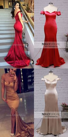 Burgundy Formal Dresses,2018 Prom Dresses,Long Prom Dresses For Teens,Sexy Evening Dresses Trumpet/Mermaid,Off-the-shoulder Party Dresses with Split Front #Burgundydresses