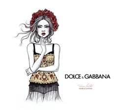 """""""D&G SS2015"""" something from the last month… I was inspired in some dresses and the flowers from Dolce&Gabbna so this was in my plans. This one is again from my sketchbook, 2015"""