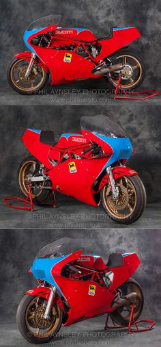 This is Walter Villa's works 750 TT1. The 748cc motor used 88x61.5mm bore/stroke measurements and made 94hp (compared to the production racer's 80, or 90 in factory endurance tune). A wider swing arm, an outboard countershaft sprocket location and the option of 18 inch wheels were the main changes from the 600TT2. From Phil Aynsley Photography : http://www.philaphoto.com/imageLibrary/thumbnails.php?album=98