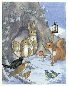 A family of rabbits and other woodland creatures in the snow. - Illustration by Molly Brett.