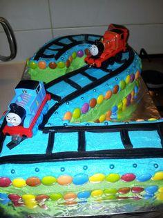 My version of a Thomas the Tank Engine cake.