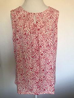 213c06fbb7c2 Ann Taylor Sleeveless Keyhole sleeveless Top Floral Size XLarge  1014