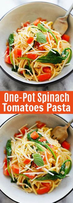 One Pot Spinach and Tomatoes Pasta - the best and easiest pasta recipe ever, with everything cooked in one pot. So good | rasamalaysia.com