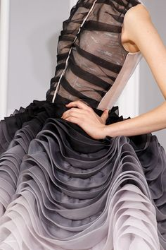 Christian Dior Spring 2012 Couture Detail: the rhythm of the wavelike frills creates a very fluid sensual effect.