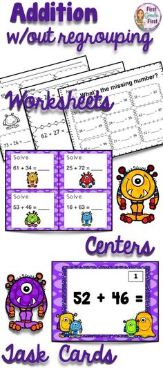 Tons of worksheets and activities to use when introducing double digit addition.