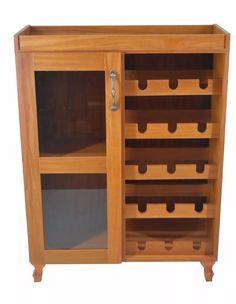 adega para vinho em madeira aparador bar peroba rosa/campo