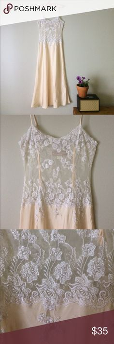 "Jacalyn Bennet bridal silk lace ivory champagne S Jacalyn Bennet gown 100% silk satin body and silk lace detail front and back. lace. Ivory and champagne. Adjustable straps. Bust 32@-35"". Waist 26""-30"" Shoulder to hem 53"" more or less depending on adjustable strap height. Size S Bennett And Company Intimates & Sleepwear Chemises & Slips"