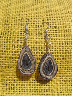 Tear Drop Magazine Earrings Recycled Jewelry by YellowDoorbyBrooke, $10.00