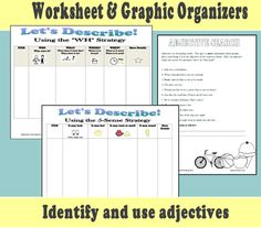 Adjectives, descriptions and details oh my! This packet will help students identify and use adjectives as well as expand sentences both verbally and in writing. Includes template for creating an interactive bulletin board  http://www.teacherspayteachers.com/Product/Descriptive-Language-Skill-Building-Pack-663137