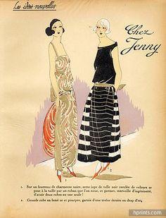 1923 JENNY ''Les Idees Nouvelles de la Mode'' Fashion Art Deco Pochoir ''Tres Parisien''