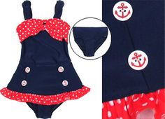 Frankie and Daisy By Corky *Protect and Serve* Navy w/Red Polka Dot Longer Top 2pc Swimsuit (Toddler And Big Girls) Size 2t