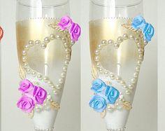 Hochzeit Champagner Gläser / elegante Toasten von JoliefleurDeco