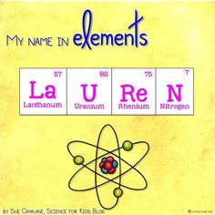 Write your name in elements! A fun way to introduce the Periodic Table of Elements. Write your name using the element symbols, add the atomic number and name of the element. I use this with my grade Science Club students - they love creating their nam Kid Science, 7th Grade Science, Elementary Science, Middle School Science, Physical Science, Science Classroom, Science Signs, Science Notes, Elementary Schools