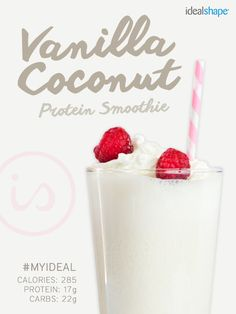 : 1 cup Silk Pure Coconut (unsweetened), 1 scoop Vanilla IdealShake, 1/2 cup plain fat-free yogurt, 2 T unsweetened coconut flakes. Add ice, blend