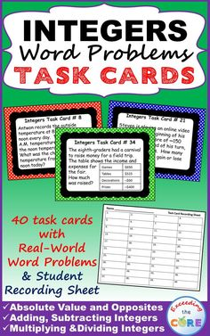 INTEGERS Word Problems - 40 Task Cards with SKILLS PRACTICE and real-world WORD PROBLEMS. Topics Covered: ✔ Absolute Value ✔ Adding Integers ✔ Subtracting Integers ✔ Multiplying Integers ✔ Dividing Integers ✔ Finding the Average  Perfect for math warm-ups, math stations, exit tickets, and math assessment prep. 7th grade math common core 7.NS.1, 7.NS.2, 7.NS.3