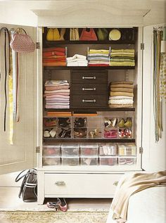 In older homes and small apartments it's hard to find great storage and closet space solutions. Don't let the words wardrobe and armoire scare you though! There are some seriously great designs to choose from that give you the storage you need. Closet Storage, Closet Organization, Amoire Storage, Organization Ideas, Storage Cabinets, Clothing Organization, Pantry Closet, Wardrobe Storage, Closet Shelves
