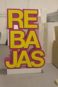 """Bloque de Letras Corpóreas """"Rebajas"""". Realización: www.poliespan.com"""