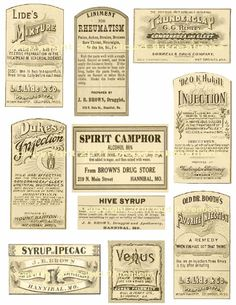 Antique Medicine Labels Digital Collage Sheet-medicine, label, collage sheet, printable, craft,