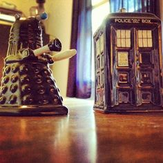 Dalek and Tardis Salt and Pepper shakers.  The battle for time and seasoning has begun!